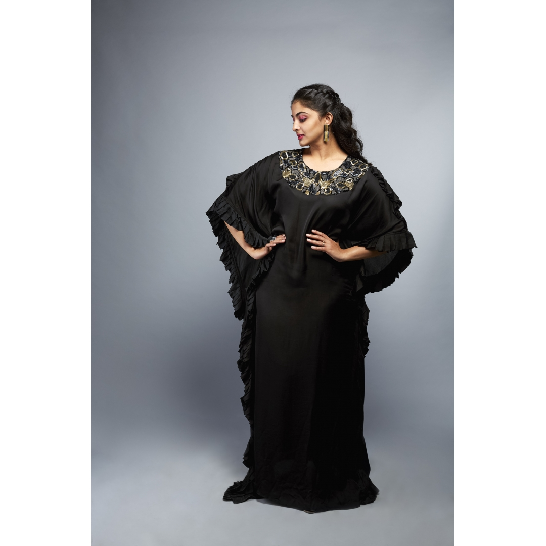 Pleated Embroidered Kaftan