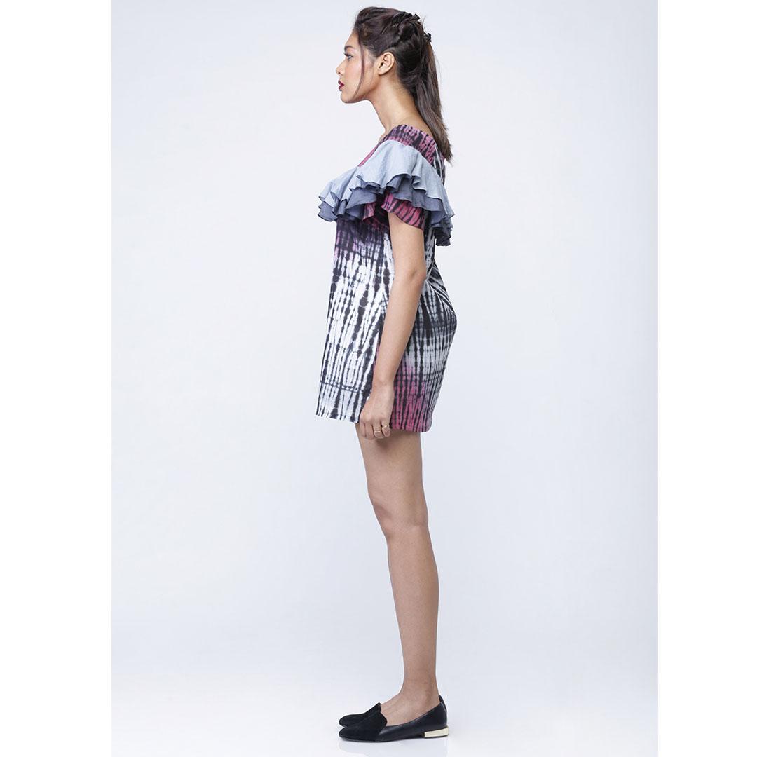 Cotton Rayon Printed Ruffled Dress