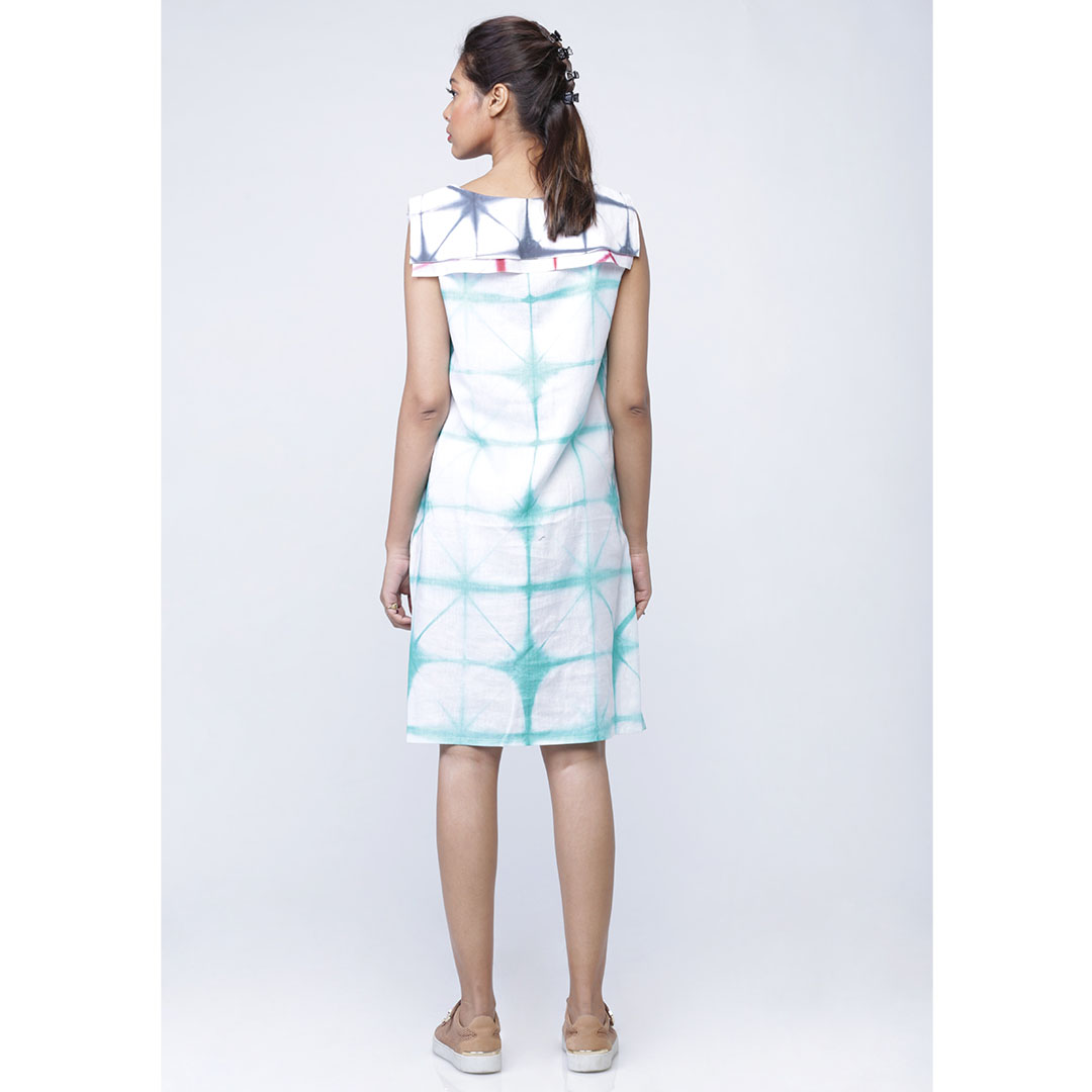 Tie Dye Shift Sailor Cape Style Dress