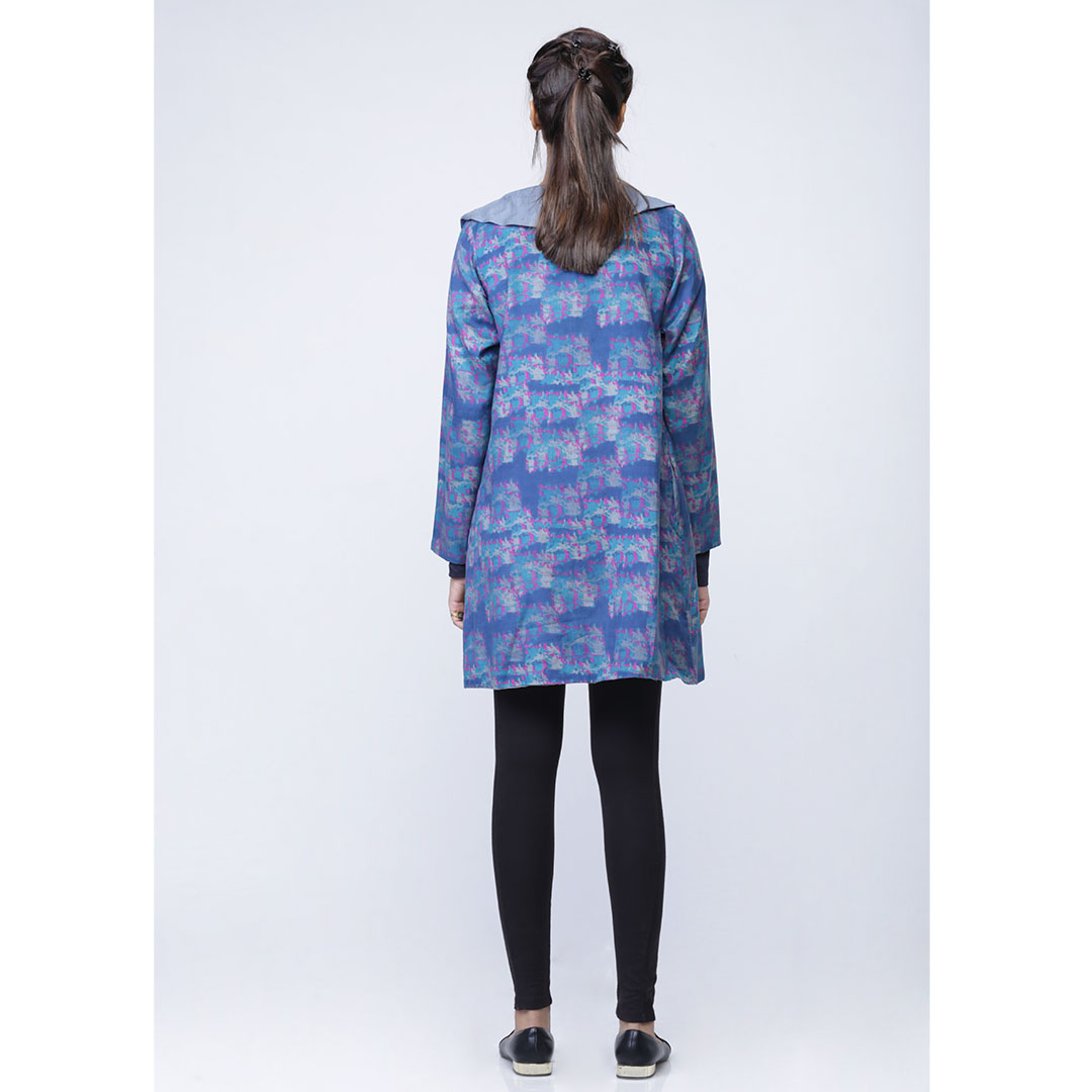 Cotton Digital Printed Reversible Jacket With Ruffled Collar