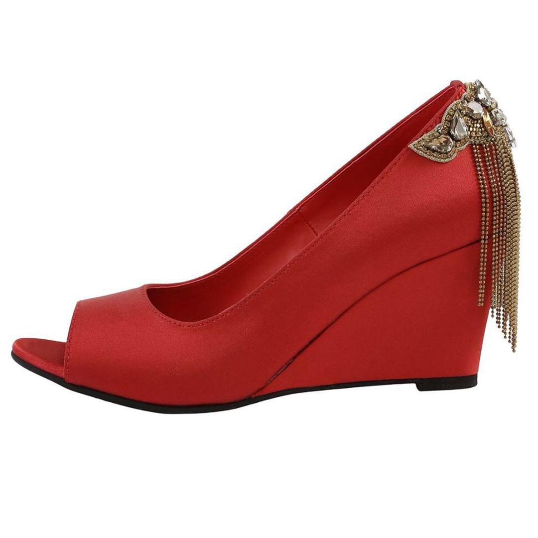 Zelda Red Peeptoe Heels