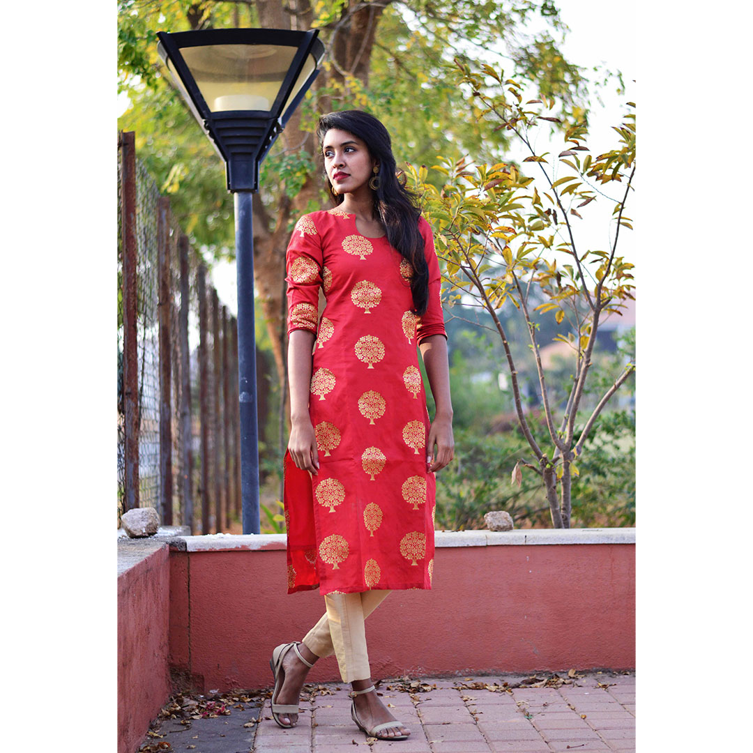 Red Brocade Kurta Set