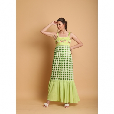 Lime checks Printed flaired long dress