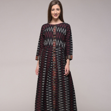 Chevron Ikat Cotton Pleated Dress