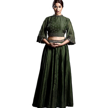 Bell Sleeves Crop Top with Skirt