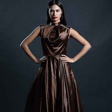 Chocolate Satin Gown