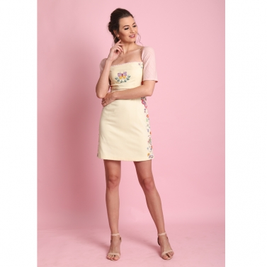 Pastel yellow back slit Embroidered short dress