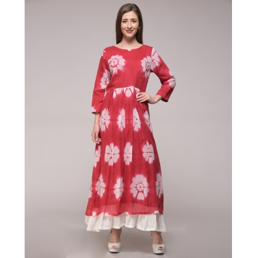 Red Clamp Dyed Floral Pleated Dress In Cotton Mul Mul