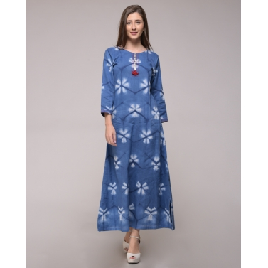 Blue Clamp Dyed Floral Cotton Slit Dress In Cotton
