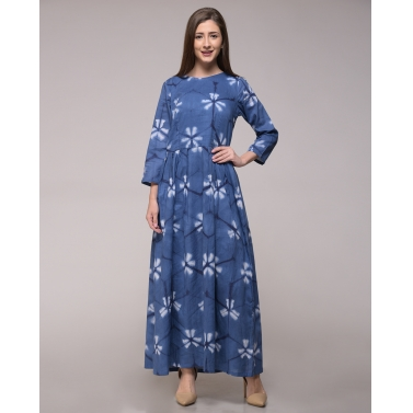 Blue Clamp Dyed Floral Pleated Dress In Cotton