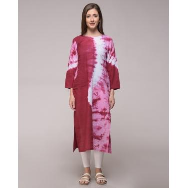 Maroon Tie Dye Wave Pattern Kurta In Cotton