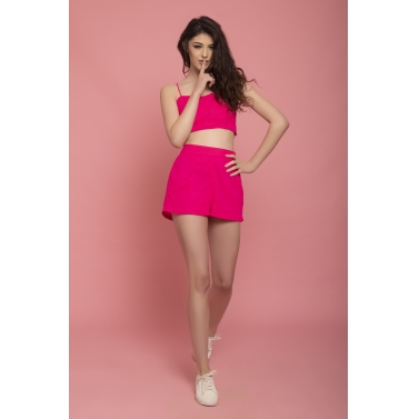 pink high waisted bustier and shorts set