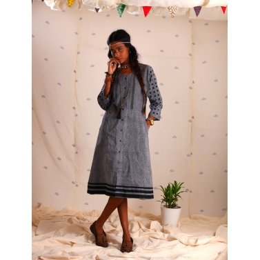Grey mangalgiri block printed dress1