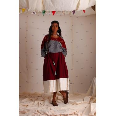 Grey and maroon mangalgiri block printed dress1
