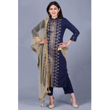 Blue Rayon Foil Printed Collared Kurti with Straight Pants and Gold Stone Net Dupatta