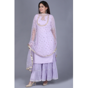 Lavender Georgette Short Kurti with Gathered Sharara and Sequence Pearl Dupatta