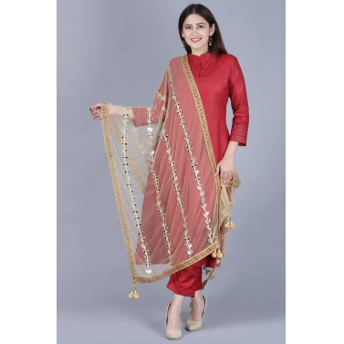 Classic Maroon Flared Kurti with Straight Pants and Net Mirror Trails Dupatta