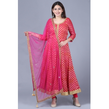 Pink Red Georgette Banarsi Anarkali with Leggings and Pink Mirror Stone Net Dupatta