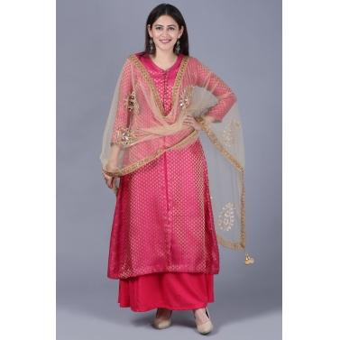 Pink Brocade Double Layered Jacket Style Kurti with Gold Mirror Paisley Dupatta