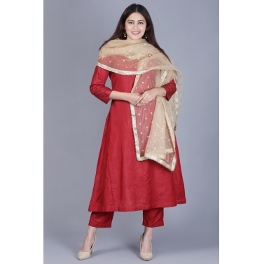 Classic Maroon Flared Kurti with Straight Pants and Net Sequenced Dupatta