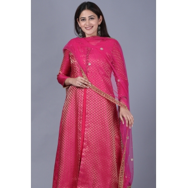 designer-womens-wear/pink-brocade-double-layered-jacket-style-kurti-with-pink-mirror-stone-net-dupatta
