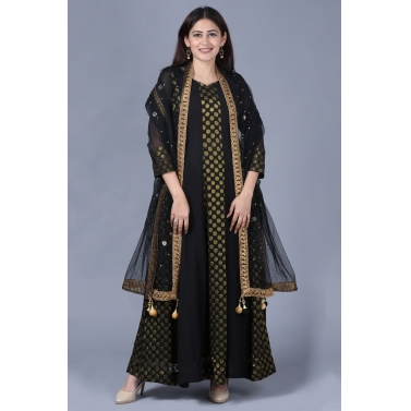 designer-womens-wear/black-gold-georgette-banarsi-floor-length-kurti-with-black-mirror-stone-dupatta