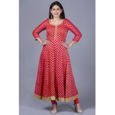 Pink Red Georgette Banarsi Anarkali with Leggings