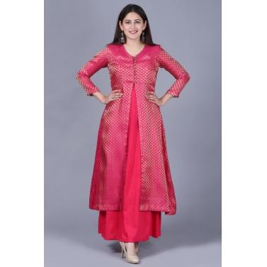 Pink Brocade Double Layered Jacket Style Kurti