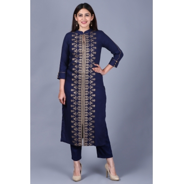 Blue Rayon Foil Printed Collared Kurti with Straight Pants