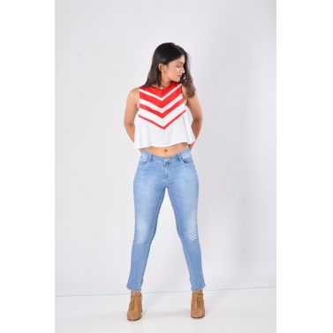 Red and White chevron crop top