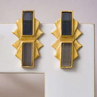 rectangular fanned jhalak earrings