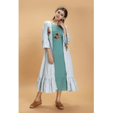 Sehar Green Stripes Cape Maxi 1