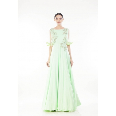 Pistaccio Green Cape Sleeves Gown