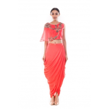 Rose Peach CropTop & Draped Skirt