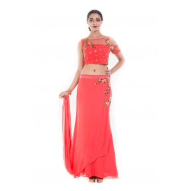 Coral and Gold Embellished Croptop & Skirt Set