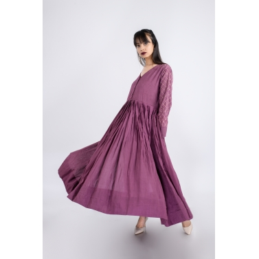 Grape Wine Pleated Dress Set