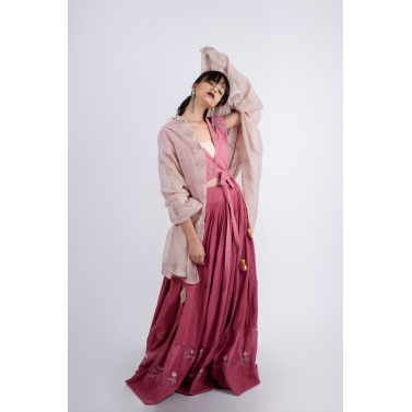 Mauve Lehenga Blouse and Beige Dupatta