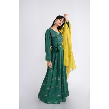 designer-womens-wear/pine-lehenga-blouse-and-mustard-dupatta