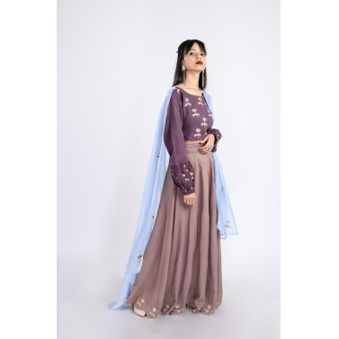 designer-womens-wear/wood-ash-lehenga-blouse-and-aqua-dupatta