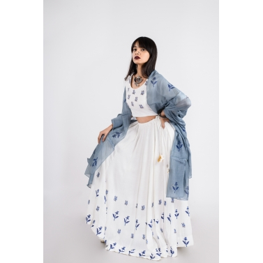 designer-womens-wear/white-lehenga-with-windsor-blue-dupatta