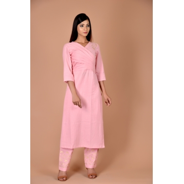 pink kurta with golden block print on bodice and pant set