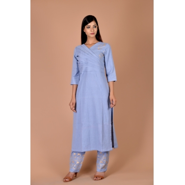 blue kurta with golden block print on bodice and pant set