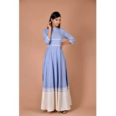 blue maxi with small white flower belt at waist with white bottom layer