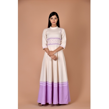 white maxi with small purple flower belt at waist with purple bottom
