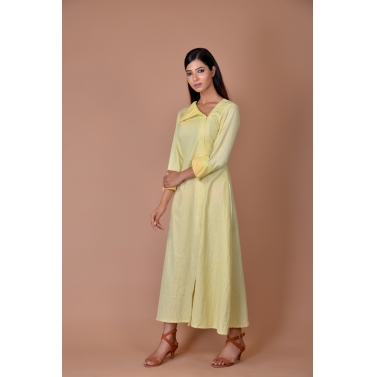 yellow frock with all over dot print with collar flap
