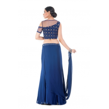 Royal Blue and Gold Embellished Croptop & Skirt Set 1