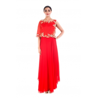 Blood Red Cape Gown