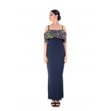 Bandeau Top midnight Blue Garden Print Dress