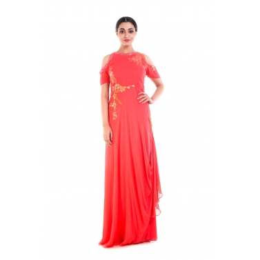 Bright Peach Cold Shoulder Gown