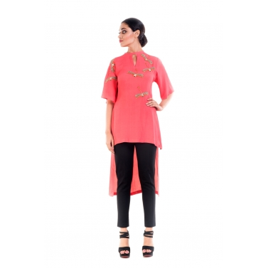 Peach Dragonfly Embellished Tunic